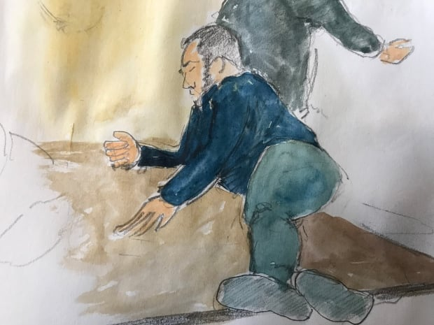 Christopher Garnier - court sketch - table demonstration
