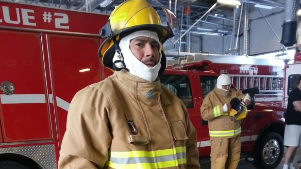 Joachim Minoza is one of 11 firefighters getting training on the K'atlo'deeche First Nation.