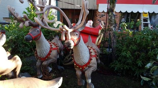 Neil Salmon's Saanich Christmas display reindeer and sleigh