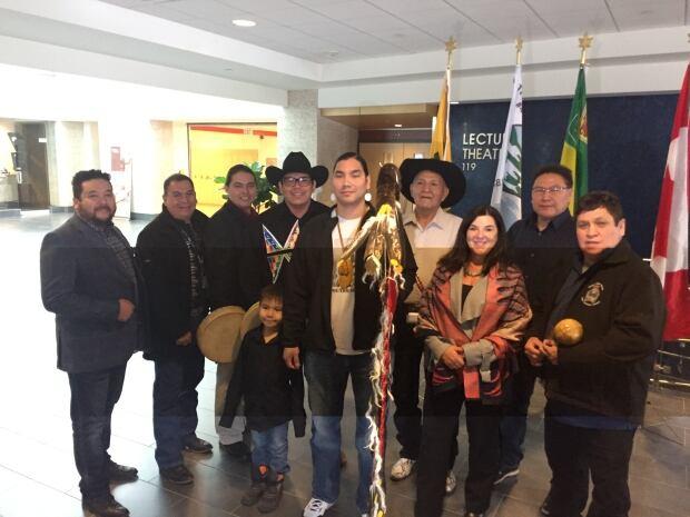 Treaty 4 chiefs, russell paskimen, elder roy bison and vianne timmons eagle staff