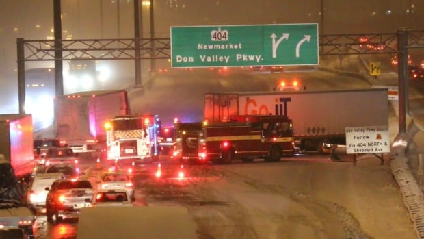 The jack-knifed trailer closed all of the westbound express lanes for several hours Tuesday morning.