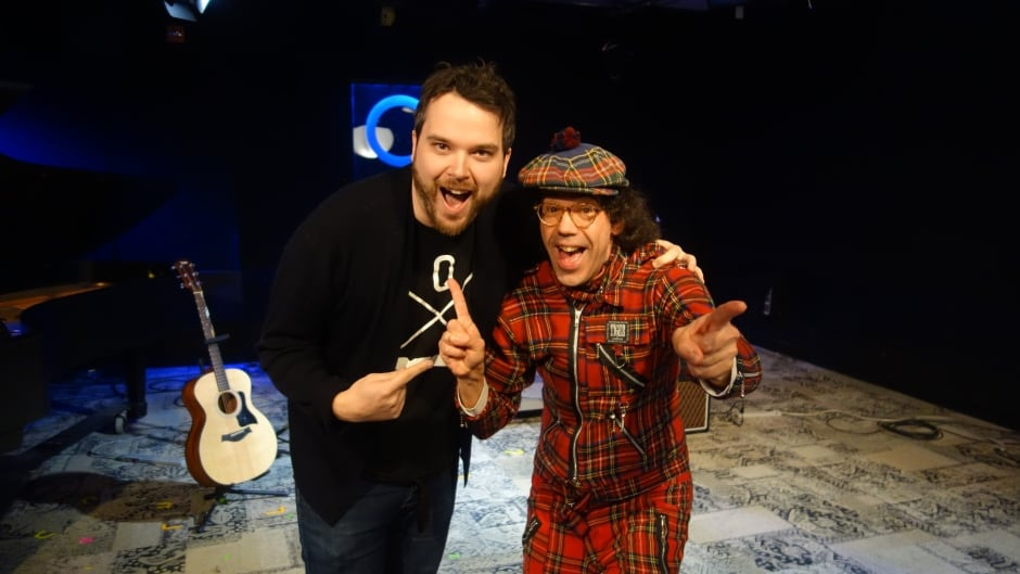 Broadcaster Nardwuar the Human Serviette with Tom Power in the q studio in Toronto, Ont.