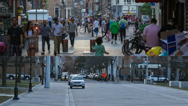 The photograph on top shows a hectic woonerf in Amsterdam, and the one below shows Fredericton's less lively creation.