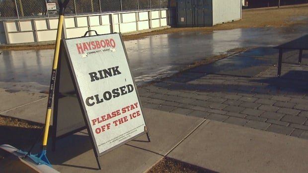 One of two outdoor rinks at the Haysboro community centre is closed because warm conditions are making it difficult to maintain ice surfaces.