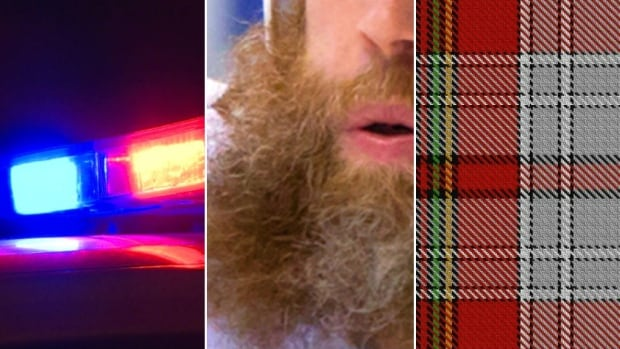 This illustrative photo collage highlights the clues in the case: A red-and-blue light bar; a long, red beard; and plaid.