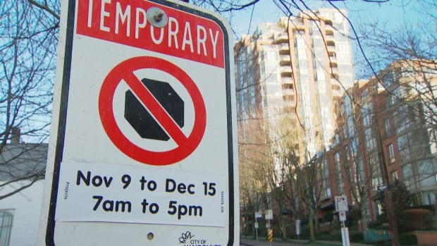 Temporary no-parking signs have been posted along a stretch of Hornby Street since early November.