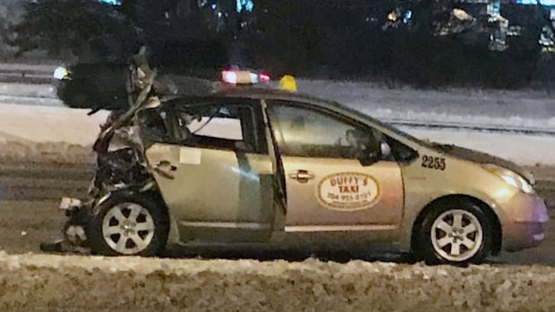 The rear of a Duffy's Taxi cab was heavily damaged in a crash Wednesday morning.