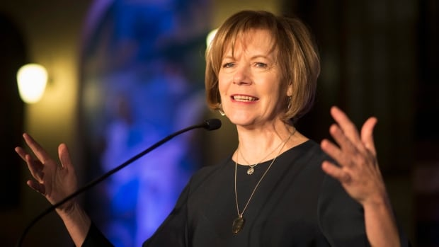 Democratic Lt.-Gov. Tina Smith speaks in St. Paul, Minn. She has been selected to replace Al Franken in the U.S. Senate and will face a special election in 2018.