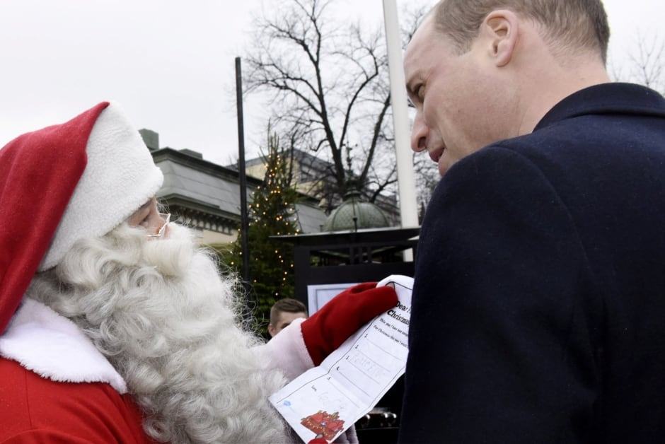 Prince William gives Prince George's Christmas list to Santa Claus