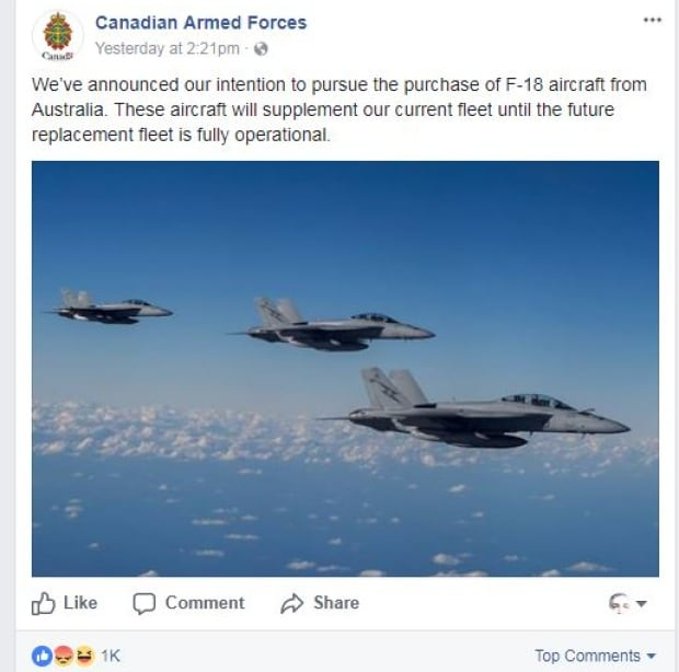 Canadian Armed Forces Facebook page