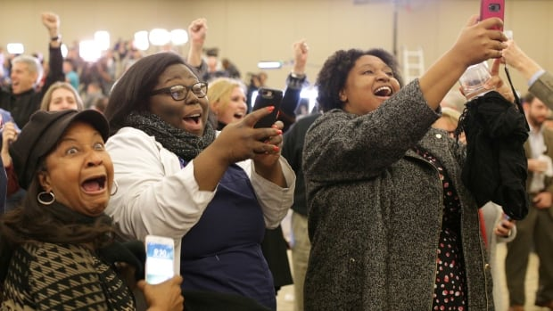 Supporters of Democratic Alabama U.S. Senate candidate Doug Jones celebrate at the election night party in Birmingham, Alabama, Tuesday.