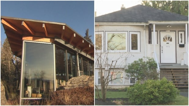 A $3 million budget can get you this custom-designed one-storey home 90 kilometres southwest of Calgary.  The Vancouver bungalow on the right is priced at $2.3 million.