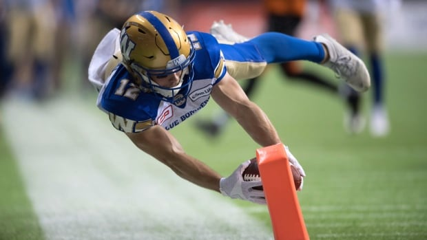 The Winnipeg Blue Bombers' Ryan Smith dives for the goal-line to score his second touchdown against the B.C. Lions in Vancouver, B.C., on Nov. 13, 2016.