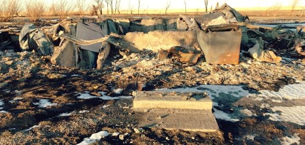 Morley Sarvis' burned farm house