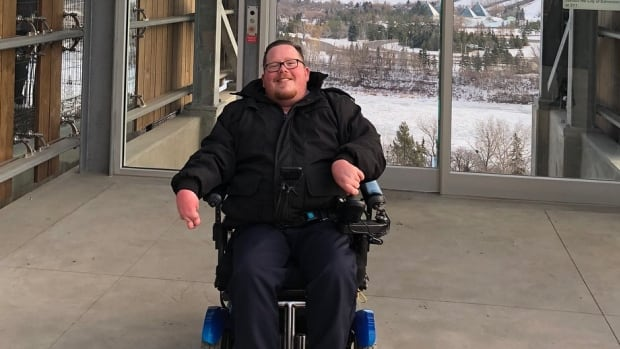 Zachary Weeks took his first trip down to the river valley in Edmonton's new funicular on Monday.