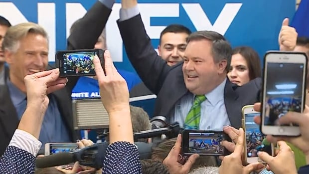 United Conservative Party Leader Jason Kenney celebrates his byelection victory at his Calgary-Lougheed headquarters Thursday night.