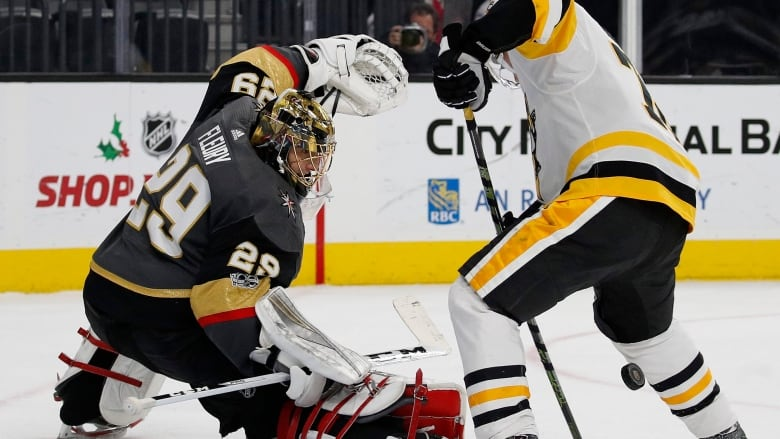 b7166431a02 Goalie Marc-Andre Fleury of the Vegas Golden Knights blocks a shot by  Patric Hornqvist of the Pittsburgh Penguins. (John Locher Associated Press)