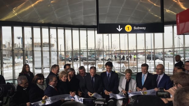 Prime Minister Justin Trudeau, Ontario Premier Kathleen Wynne, Toronto Mayor John Tory and other dignitaries cut the ribbon on the new line 1 subway extension Friday morning.