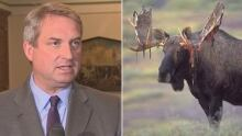 Gerry Byrne and a big moose