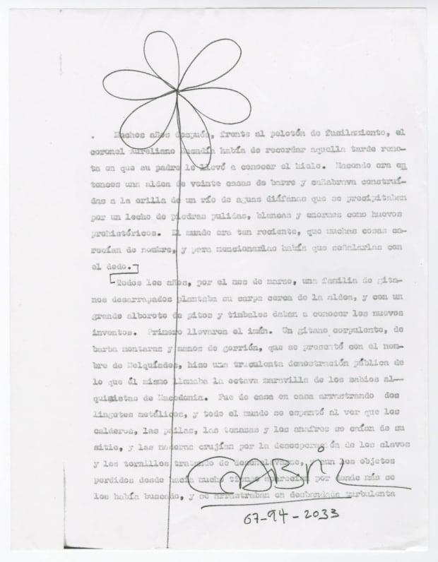 Gabriel Garcia Marquez, typescript from 100 Years of Solitude