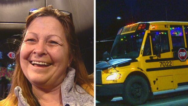 Gay Powlan, a school bus driver of five years, says she'd like to see more bus drivers decorate their vehicles at this time of year.