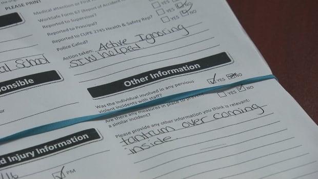 violent incident report educational assistant