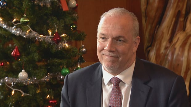 John Horgan speaks from his Vancouver office to the CBC in the year-end interview on Dec. 14, 2017.