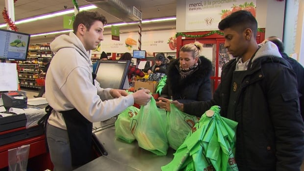 Montreal retailers will no longer be able to hand out single-use, plastic bags like these biodegradable ones at P.A. Marché as of Jan. 1, 2018.