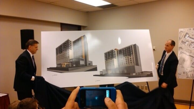 Investor Rod McLeod and realtor Clint Dahl unveil plans to build a Marriott hotel topped by condos in downtown Prince George in 2012. The project has been downgraded to a smaller hotel, without condos.