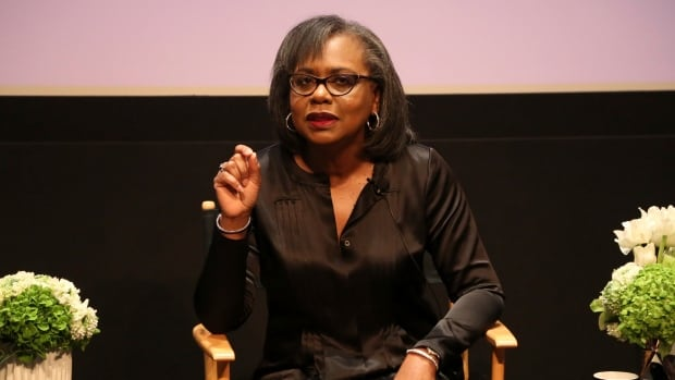 Anita Hill, seen here Dec. 8 speaking at a discussion about sexual harassment in Beverly Hills, Calif., will chair a commission to help combat sexual misconduct and gender inequities across the entertainment industry.