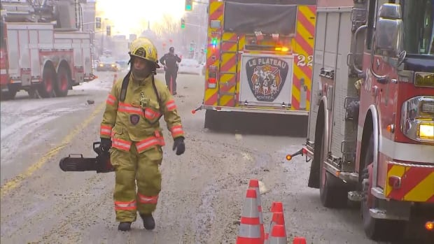 Firefighters worked to control the fire which broke out Saturday morning.