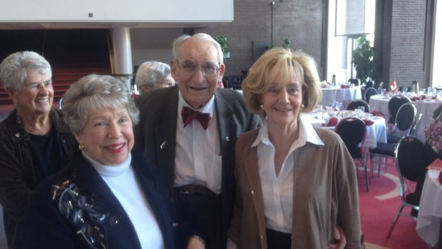 Jack Boen will be celebrating his 100th birthday on Dec. 16 in Regina. Here, he can be seen at the Canadian Club Luncheon with Lyn Goldman (left) and Senator Raynell Andreychuk (right), with Duna Barber in the background.