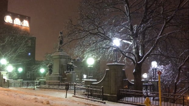 The War Memorial in downtown St. John's was icy and gleaming on Saturday evening as a heavy wet snow fell and winds picked up.