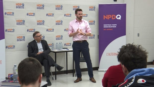 NDPQ leadership candidates Raymond Côté (L) and Raphael Fortin (R) held an English-language debate in Montreal, Saturday.
