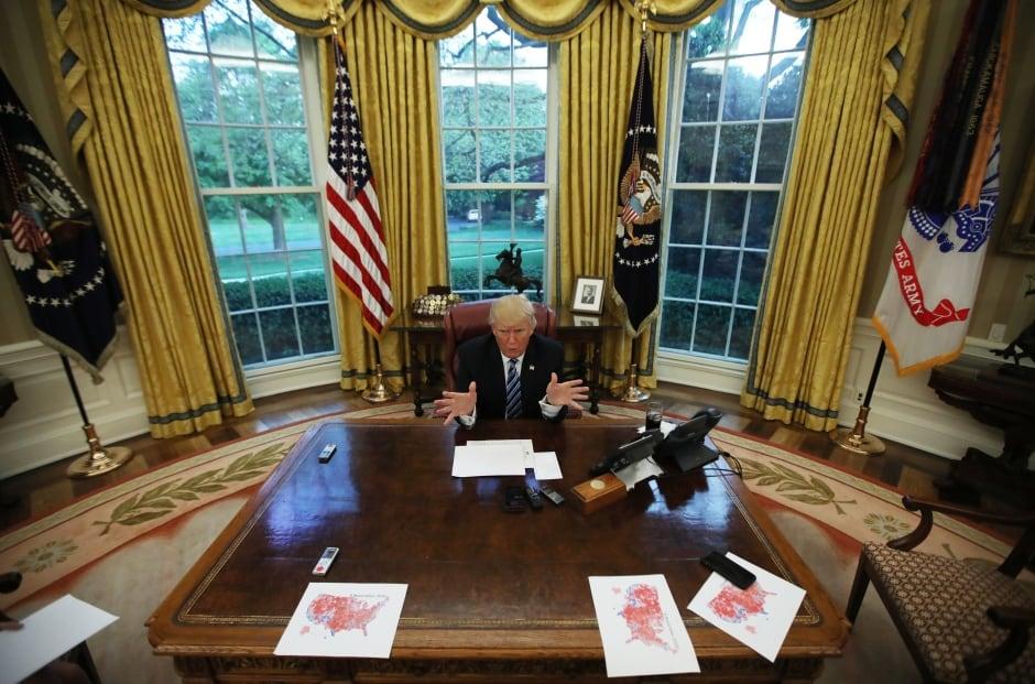 U.S. President Donald Trump speaks in the Oval Office