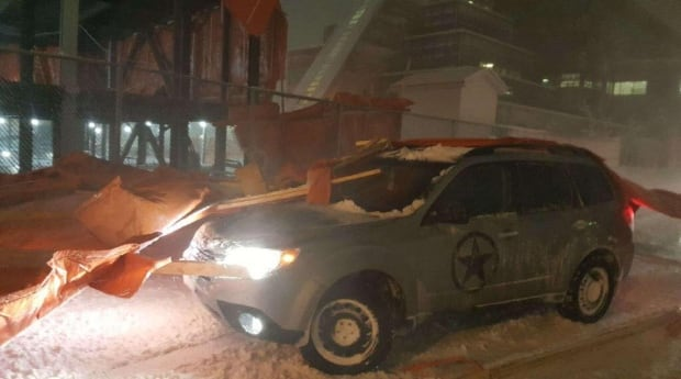 Vehicle that was hit by flying debris during Dec. 16 storm