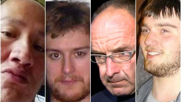 From left to right: John Paul Ostamas, Justin Bourque, Douglas Garland and Derek Saretzky. All four men were given consecutive sentences for murders.