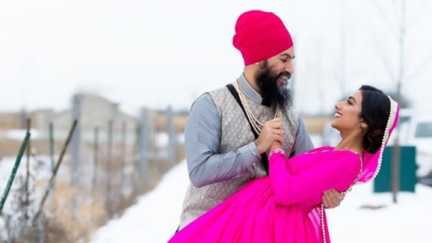 NDP Leader Jagmeet Singh pictured next to Gurkiran Kaur Sidhu in Brampton, Ont. over the weekend. The photo was taken by a Toronto-based wedding photographer.
