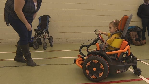 The modified chairs can give children like Khyla Buium an opportunity to experience independent movement.