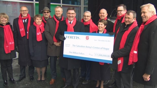 Christmas came early, and in the form of a big cheque, from Fortis Inc. to the Salvation Army's fundraising efforts to build its Centre of Hope.