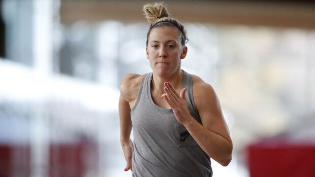 Meghan Agosta of the Canadian Olympic Women's Hockey Team trains at WinSport in Calgary, Alberta on October 4th, 2017.