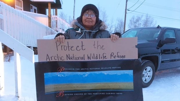 Gina Neyando was one of around 50 people at a rally in Fort McPherson, N.W.T., in an effort to protect the Arctic National Wildlife Refuge.