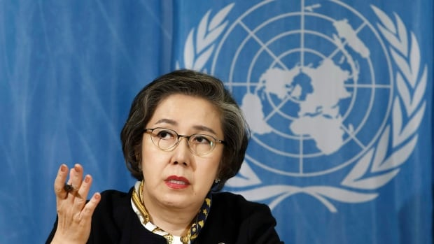 Yanghee Lee, special rapporteur on the situation of human rights in Myanmar, speaks during the 34th session of the Human Rights Council at the European headquarters of the United Nations in Geneva on March 13. Lee says she has been barred from entering the Southeast Asian country.