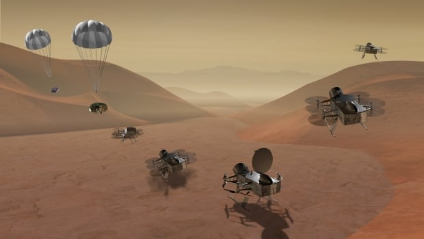 Dragonfly is a drone-like rotorcraft that would land on the surface of Saturn's largest moon Titan and be able to explore the moon for hundreds of kilometres flying from location to location