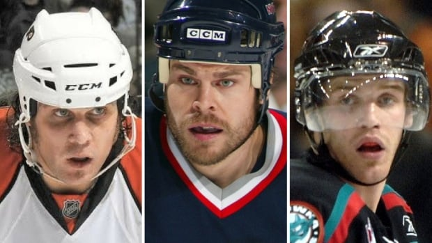 Riley Cote, Dale Purinton and James McEwan, all former hockey fighters, hoping to help Stephen Peat who is currently struggling with drugs and homelessness.