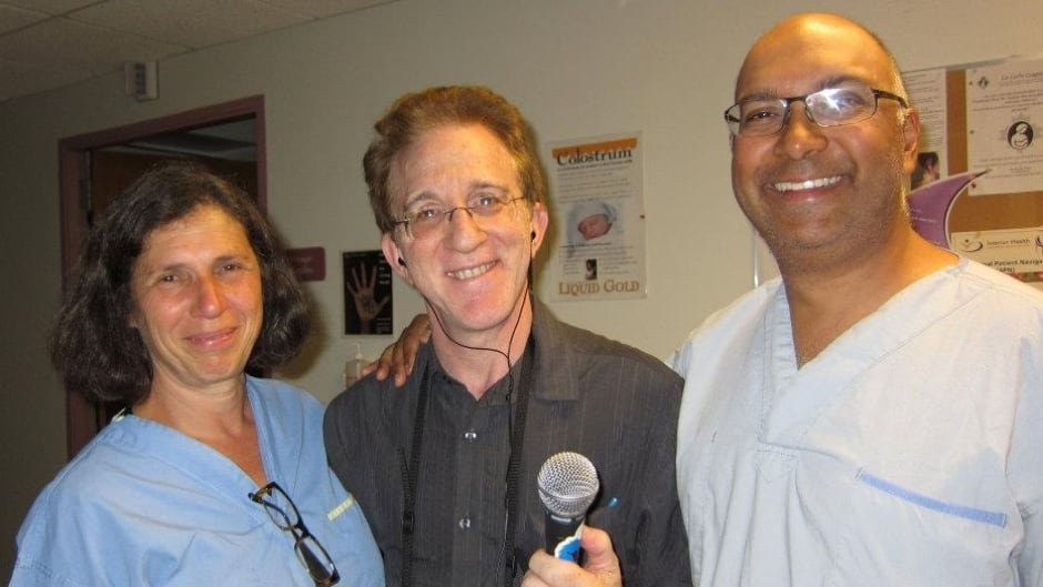 Dr Brian Goldman with Veteran midwife Ilene Bell and Dr Shiraz Moola, OBGYN. In Nelson BC, midwives and OBGYN's work closely together.