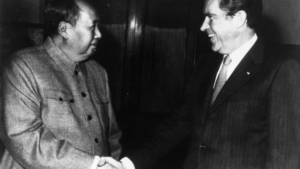 Alberta Premier Rachel Notley compares her pipeline activism to 'Nixon in China'. Chinese communist leader Chairman Mao Zedong shakes hands with American president Richard Nixon  in Peking (Beijing) during his visit to China in 1972.  (Photo by Keystone/Getty Images)