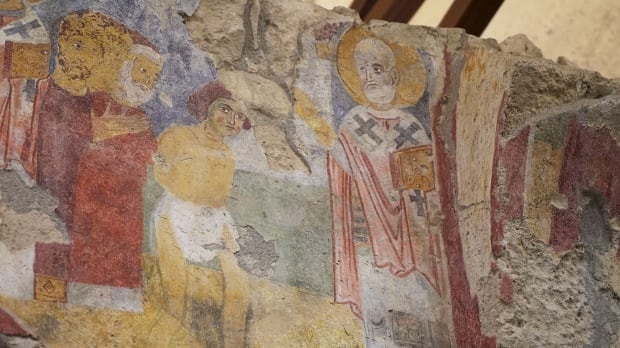 Saint Nicholas fresco, tending to the ill