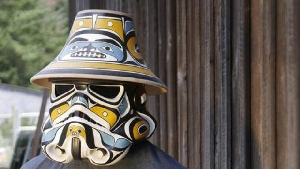 This is a stormtrooper helmet designed by Andy Everson, a First Nations artist from Comox, B.C.