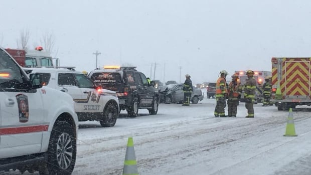 Road conditions on QEII between Red Deer and Olds were reported to be treacherous on Saturday.